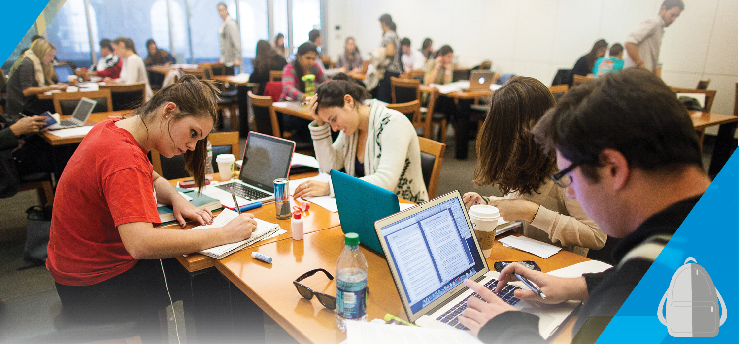 Students studying at tables