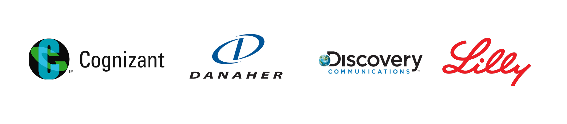 Logos for Cognizant, Danaher, Discovery Communications and Lilly
