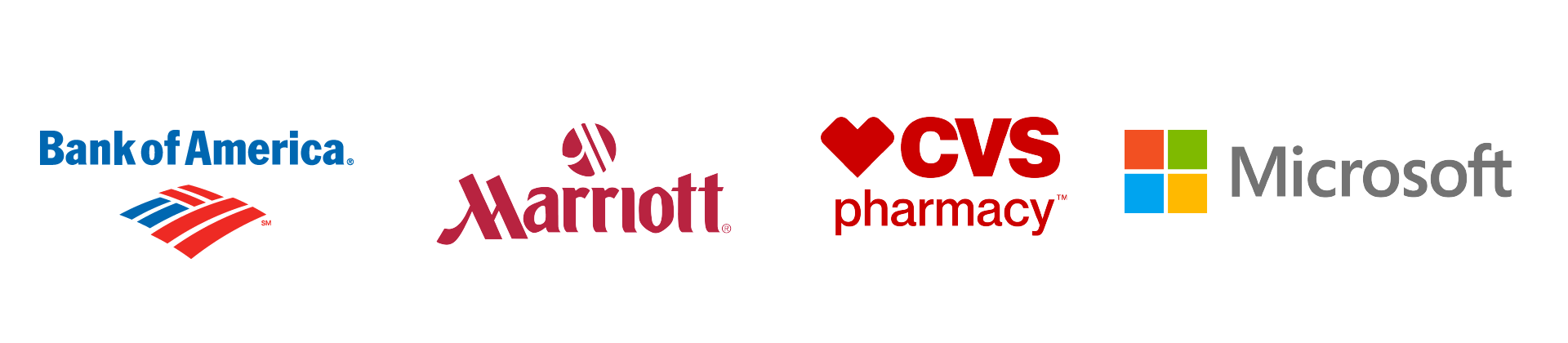 Logos for Bank of America, Marriott, CVS Pharmacy, and Microsoft