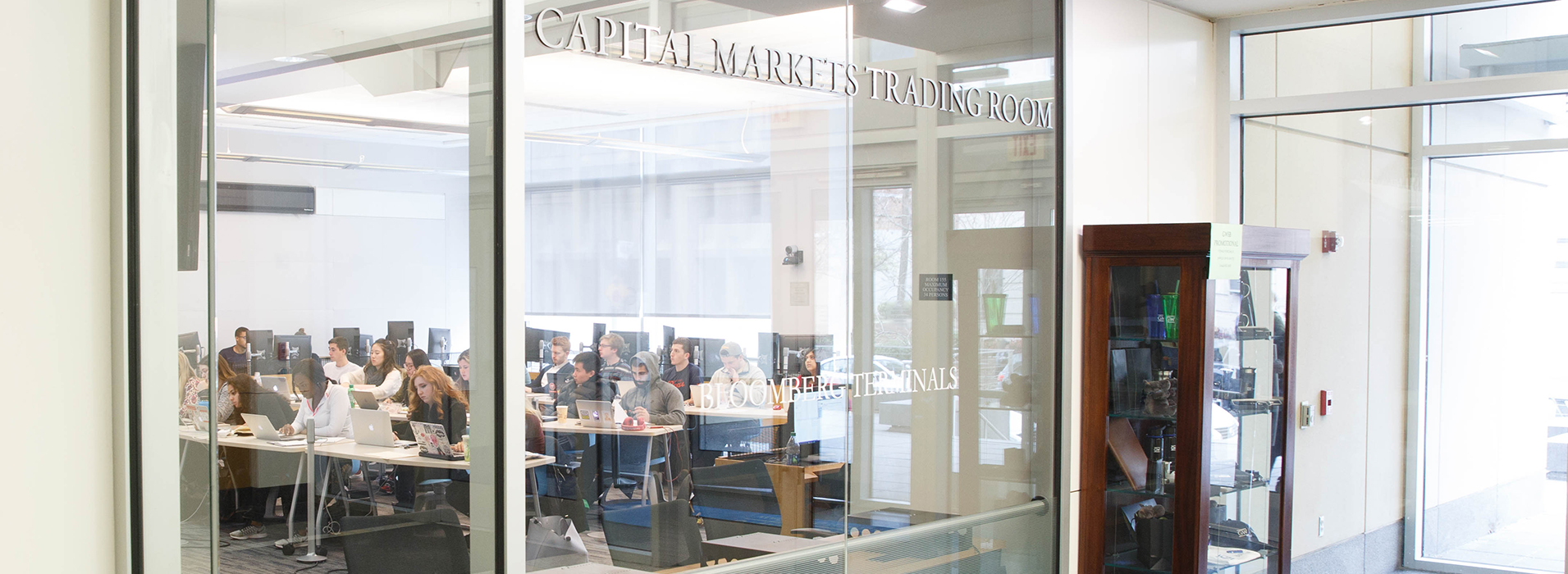 photo - GW Investment Institute header image - Bloomberg Trading terminals at the GW School of Business