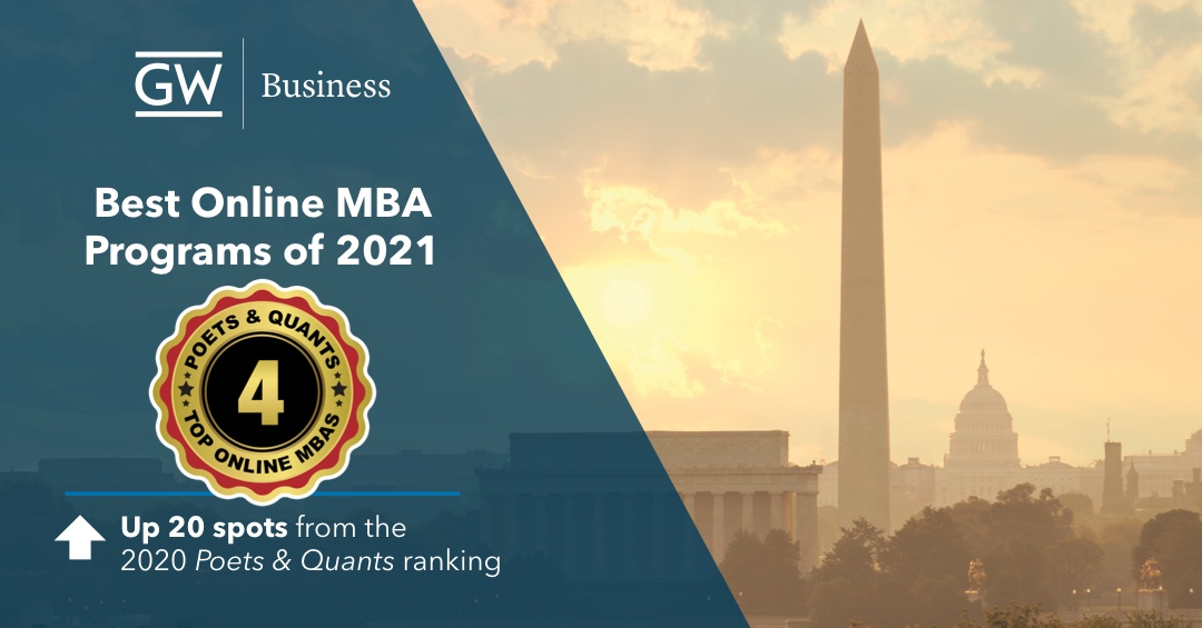 GWSB Poets & Quants 2021 Online MBA program ranking banner