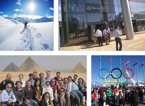 image - a photo collage of GWSB students participating in G&EE study abroad programs