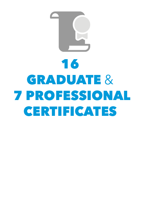 16 Graduate Certificates and 7 Professional Certificates