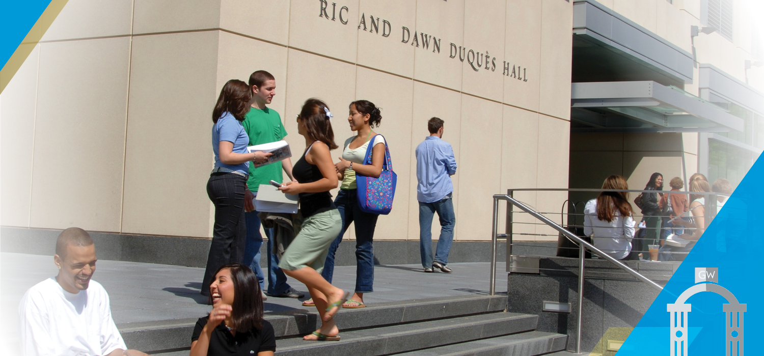 Prospective Students - Image of students outside of Duques Hall