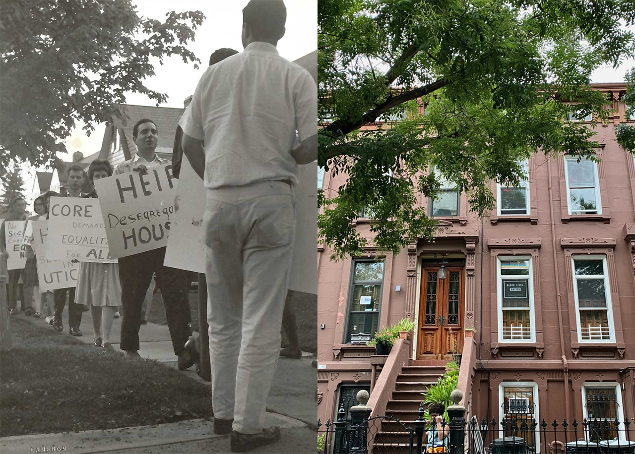 a composite image comprised of a photo of a historical protest for fair housing practices and a photo of a new home