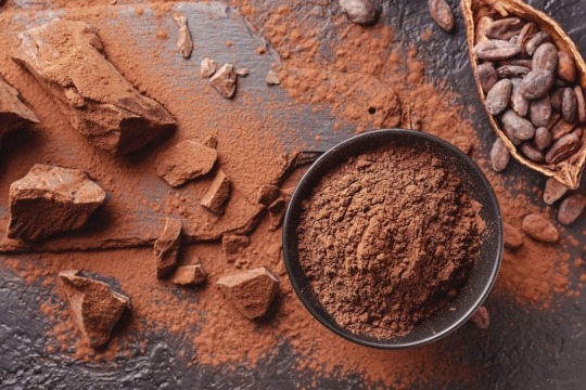 cacao beans and cocoa powder