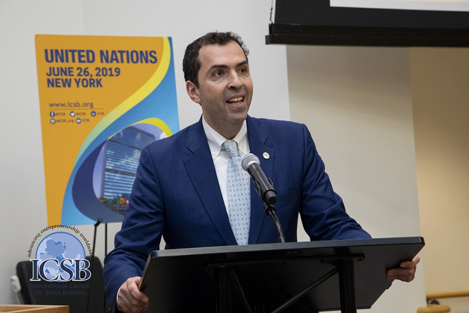 photo - GWSB Professor Ayman El Tarabishy speaks at the United Nations
