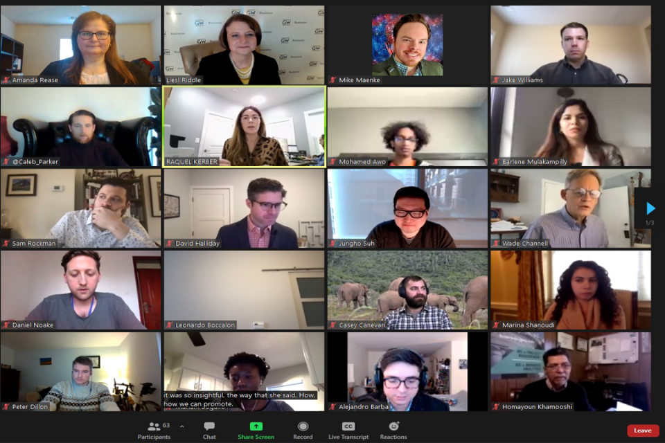 screenshot of participants in one of GWSB's virtual Industry Roundtables