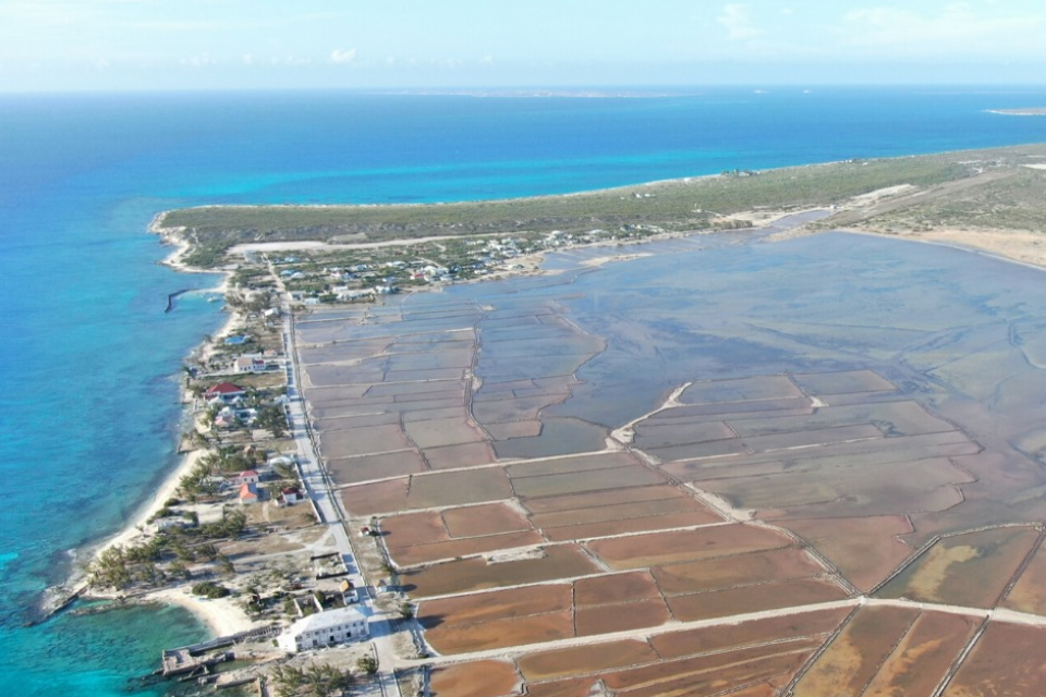Aerial view of the island of Salt Cay in the Turks and Caicos