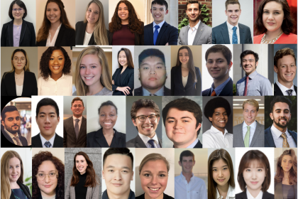 headshots of students in the accountancy capstone course at GWSB