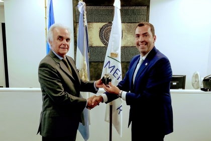 photo - GWSB Professor Ayman El Tarabishy with Ambassador Martín García Moritán at the Argentine permanent mission to the UN