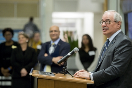 photo - GW President Thomas LeBlanc speaks at the CAP 10-year anniversary event