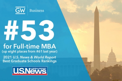 graphic - GWSB moves up eight places to #53 for our full-time MBA in the U.S. News & World Report rankings