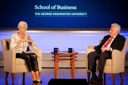 photo - George Talks Business on May 2, 2019 with Christine Lagarde, managing director of the International Monetary Fund (IMF)