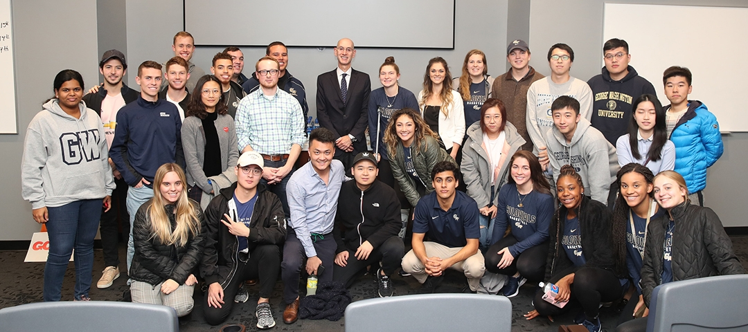 photo - GWSB students meet NBA Commissioner Adam Silver